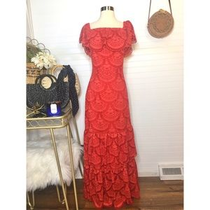 NEW Gianni Bini Red Lace Ruffle Maxi Dress